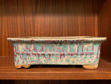 Purple/Blue/Creme Glazed Antique Nakawatari Era Bonsai Tree Pot 120+ Years Old