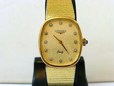 1980s MID SIZE GOLD PLATED DIAMOND DIAL LONGINES QUARTZ IN EXCELLENT CONDITION