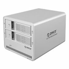 "ORICO 2 Bay Aluminum Tool free USB 3.0 Enclosure Safe Case for 3.5"" Hard Drive"