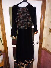 Abaya Burka Dubai Stone sequins+ Hijab Scarf - Black,red,green,brown trim - UK