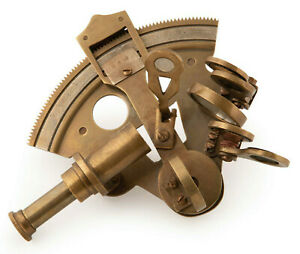 "Bronze Pocket Ship's Sextant 4.25"" Antiqued Nautical Astrolabe Desk Top Decor"