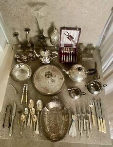 A Job Lot Antique/Vintage Silver Plate 2 Trays/Epergne/ Deco Tea Set/Nutcracker