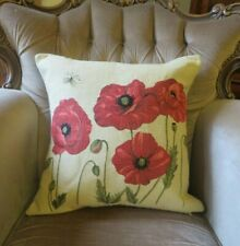 POPPIES WITH BUTTERFLY FLOWER WOVEN TAPESTRY PILLOW CUSHION COVER ONLY