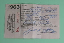 1963 Pennsylvania Resident Fishing License Vintage Conservation.Free Shipping!
