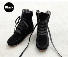 New Women Girls BLACK Ankle Martin Boots Flat Lace up short Suede Booties Shoes