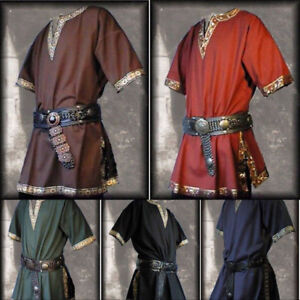 Medieval Renaissance Men Shirt Tunic Top Lace Up Trousers Pants Cosplay Costume
