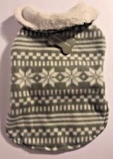 Dog Christmas Fleece Sweater Nordic Fair Isle Holiday Print Gray Size Small New