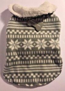 Dog Christmas Fleece Sweater Nordic Fair Isle Holiday Print Gray Size Small New