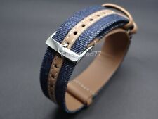 Omega 20mm Blue Denim - Leather Strap With Polished Stainless Steel Buckle