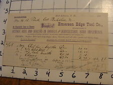 Original Vintage BILLHEAD: EMERSON EDGE TOOL CO, East Lebanon, NH, 1892