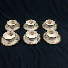 Theodore Haviland Limoges Ganga Floral Basket Set of 6 Cup and Saucers Vintage
