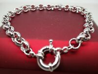18ct 18K White Gold belcher bolt ring chain solid womens mens bracelet 9' 23cm