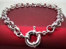 18ct 18K White Gold belcher bolt ring chain solid womens mens bracelet 9' 23cm