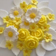 YELLOW ROSE BOUQUET Edible Sugar Paste Flowers Cake Cupcake Decorations Lemon