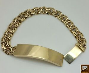 """Real Solid 10k Gold Chino Link ID Bracelet Box Lock  8.5"""" 13mm ID New Rope Cuban"""