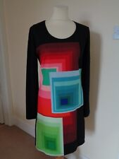 DESIGUAL BLACK AND MULTI COLOURED BLOCK LONG SLEEVE DRESS