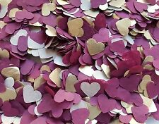 2 HANDFULS GOLD,BURGUNDY HEARTS CONFETTI WEDDING DECORATION/THROWING/ECO  SUMMER