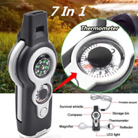 7in1 Camping Survival Whistle Compass Thermometer LED Flashlight Fire Magnifier