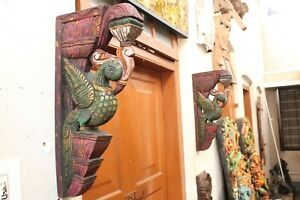Peacock Statue Wall Bracket Pair Corbel Wooden Bird Sculpture Vintage Home Decor