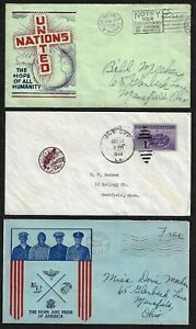 US WWII 1940s THREE DIFFERENT PATRIOTIC COVERS SEE SCANS