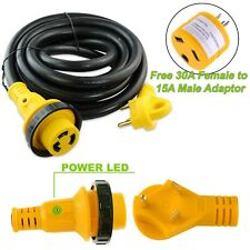 15 foot 30 amp RV Extension Cord Power Supply Cable for Trailer Motorhome Camper