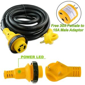 10 foot 30 amp RV Extension Cord Power Supply Cable for Trailer Motorhome Camper