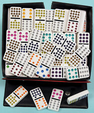 Plastic Double Fifteen Dominoes With Coloured Spots - Ref: 00124