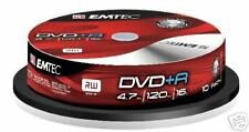 DVD+R Emtec con 10 DVD 4.7Gb 120min 16x in Cakebox Nuovo