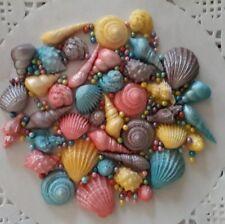 40 SHIMMER SUGAR Sea Shells edible sugarpaste  cake decorations Cupcake toppers