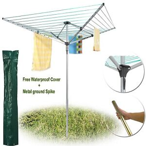 Quality 4 Arms Adjustable Rotary Washing Line Outdoor Airer Dryer 40m/50m/60m