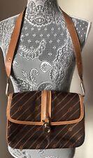 VTG Gucci Canvas & Leather Shoulder Bag Handbag Purse Italy Monogram 70's