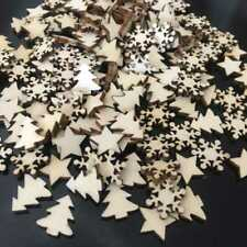 50pcs Wooden Christmas Tree Snowflakes DIY Hanging Ornaments Pendant Home Decor