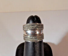 Vintage Sterling Silver 925 Wide Rope Design Band Size 5. 75 Ring