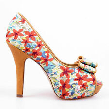Open Toe Slim Floral Synthetic Heels for Women