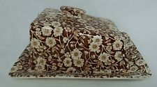 STAFFORDSHIRE china CALICO BROWN pattern Cheese Dish & Lid