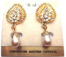 boucles d'oreilles percées bijou couleur or perle goutte cristaux swarovski 762
