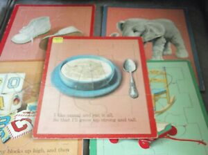 Lot of 5 Vintage Story Frame Tray Cardboard Puzzles Complete