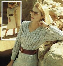 Lady's lacy summer sweater jumper knitting pattern Pampos linen look yarn