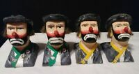 Hand carved wood clown figure bust 2 x 2 1/2 inch