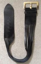 Ted Baker Wide Black Patent Leather Slash-back Belt Golden Branded Buckle Sz 2-3