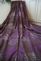 BROWN PURPLE PLUM SILVER JACQUARD FLORAL EYELET CURTAINS,66WX90D,SHEEN,LINED