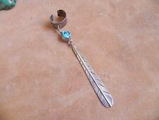 Turquoise & Sterling Silver FEATHER Dangle Ear Cuff by Kenny Guerro Navajo