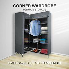 Space Saving 168cm Corner Wardrobe Fabric Cabinet Storage Rack Clothes Organiser