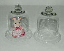 """Pair Bell Jar Cloche Clear Glass Display Domes with Finial 5 3/4"""" T"""