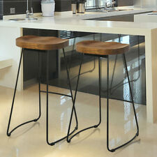 2pcs Round Vintage Rustic Designer Pub Bar Stool with Black Frame and Solid Hard