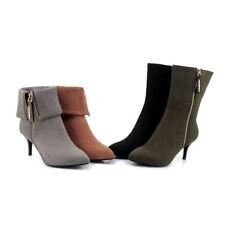 Women's 7cm High Heel Microfiber Suede Pointed Booties Mid-Calf Boots US Sz 2~10