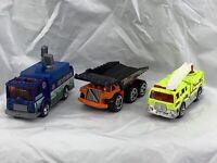 Matchbox Lot Of 3 2 Firetrucks, 1 Dump Truck 1/64 Loose 1991, 2001, 2004