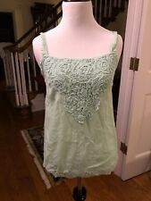 Maurice's Mint Green Spaghetti Strap Embroidered Chunky Lace Top in XS