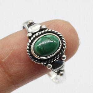 Malachite 925 Silver Plated Handmade Gemstone Ring of US Size 9 Ethnic Gift