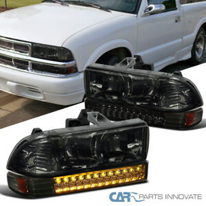 For 98-04 Chevy S10 Blazer Pickup Smoke Lens Headlights+Tinted LED Bumper Lamps